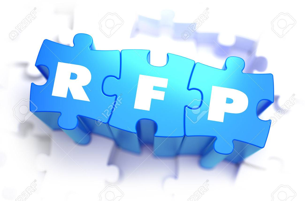 RFP   Request For Proposal   Abbreviation On Blue Puzzles On   Stock     RFP   Request for Proposal   Abbreviation on Blue Puzzles on White  Background  3D Render
