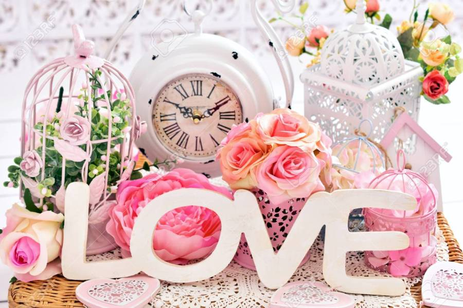 Romantic Love Decoration In Shabby Chic Style With Letters flowers     romantic love decoration in shabby chic style with letters flowers vintage  clock and bird