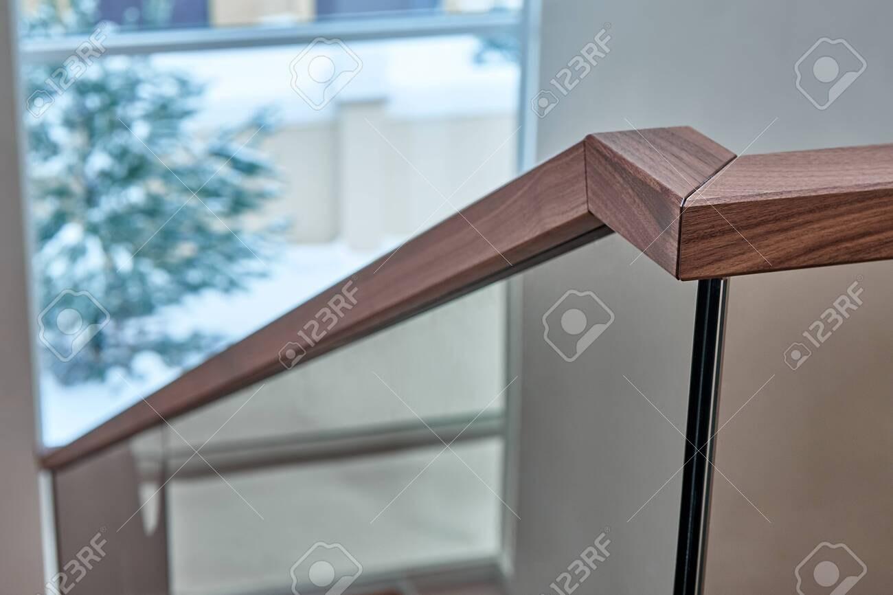 Beautiful Modern Glass Railing For Wooden Staircase With Wooden | Wooden Stair Railing With Glass | Custom | Balcony Wooden | Detail | Oak | Wood Treads