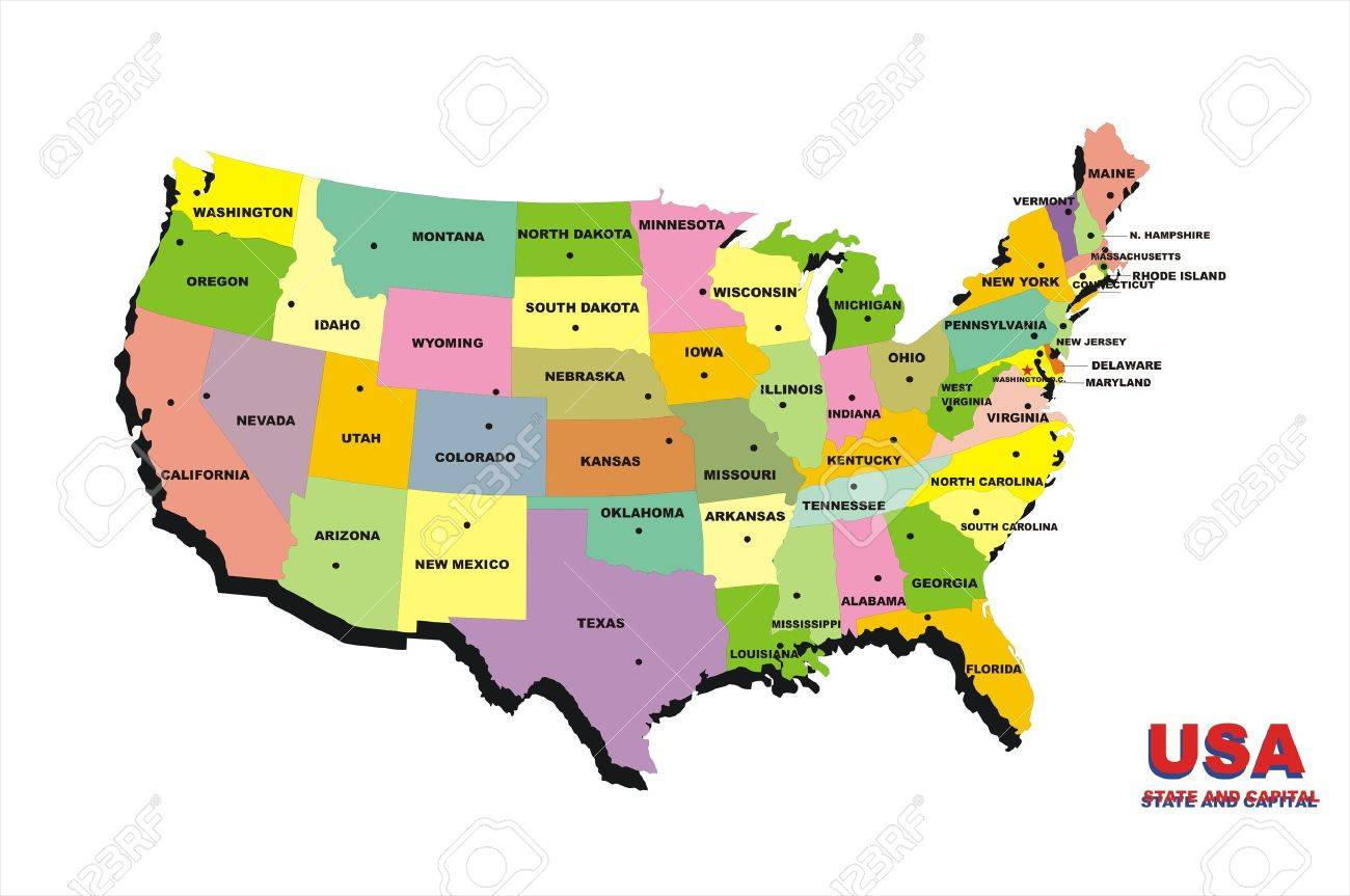 Map Of United States Of America On The White Background Stock Photo     map of United States of America on the white background Stock Photo    4294156