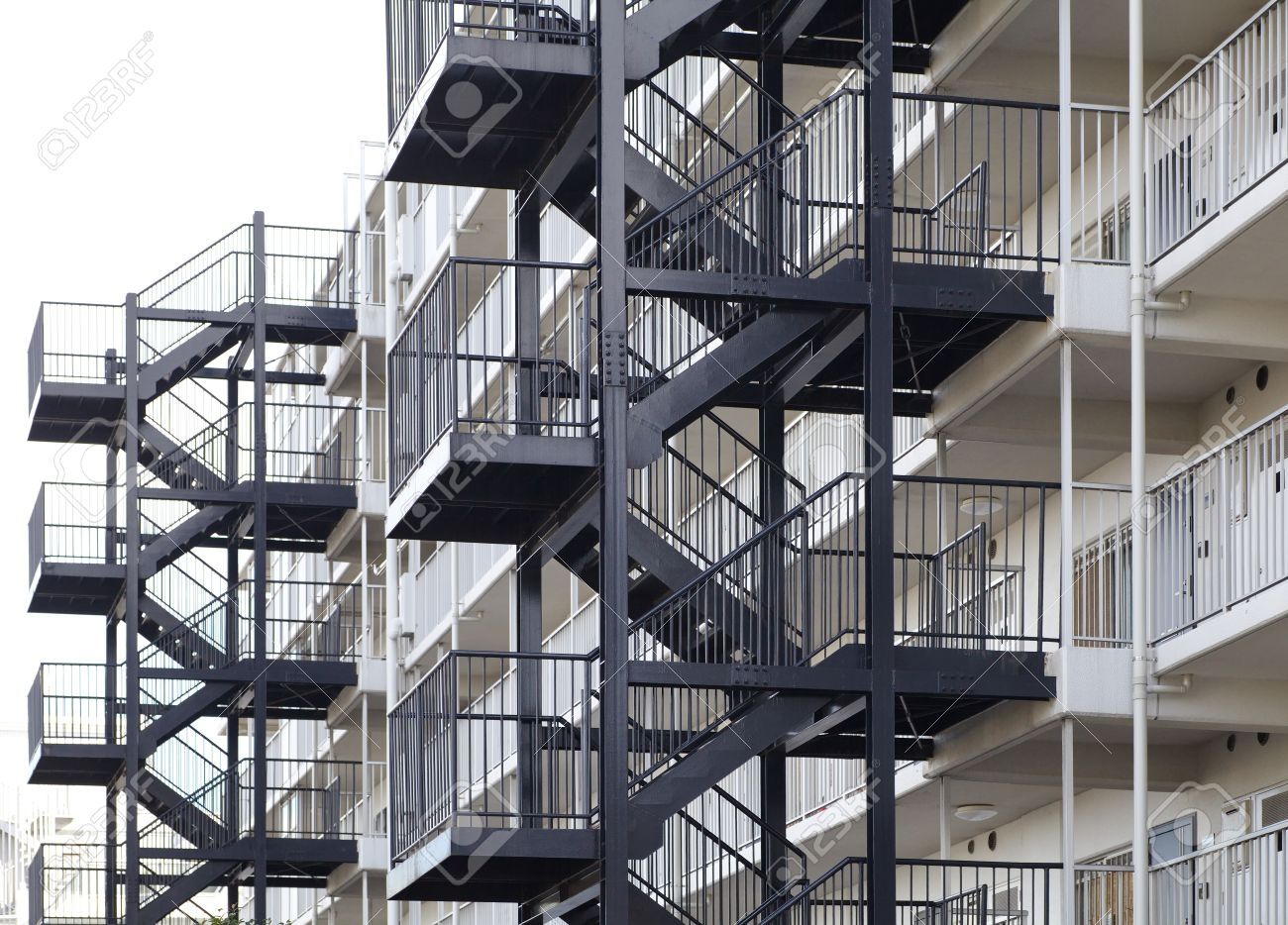 Metal Fire Escape Outside Apartment Building For Emergency Stock   Steel Fire Escape Stairs   Architectural   Internal   Industrial   Emergency   Fire Exit