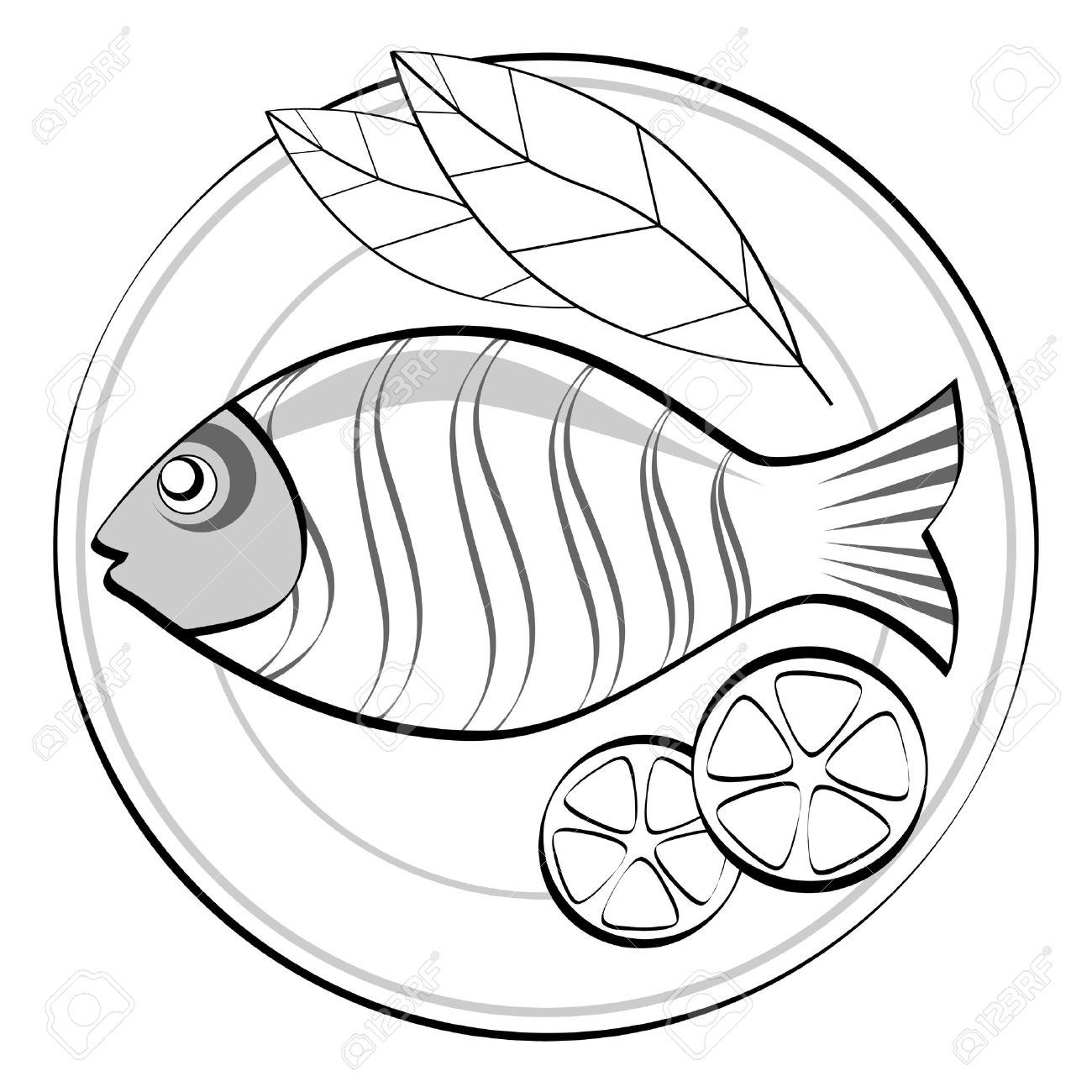 Images Fried Fish Clipart Black And White