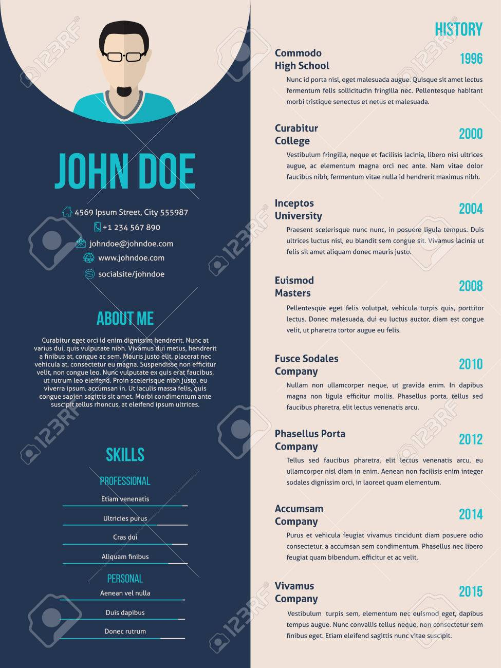 New Curriculum Vitae Cv Resume Template Design Royalty Free Cliparts     New curriculum vitae cv resume template design Stock Vector   46080610