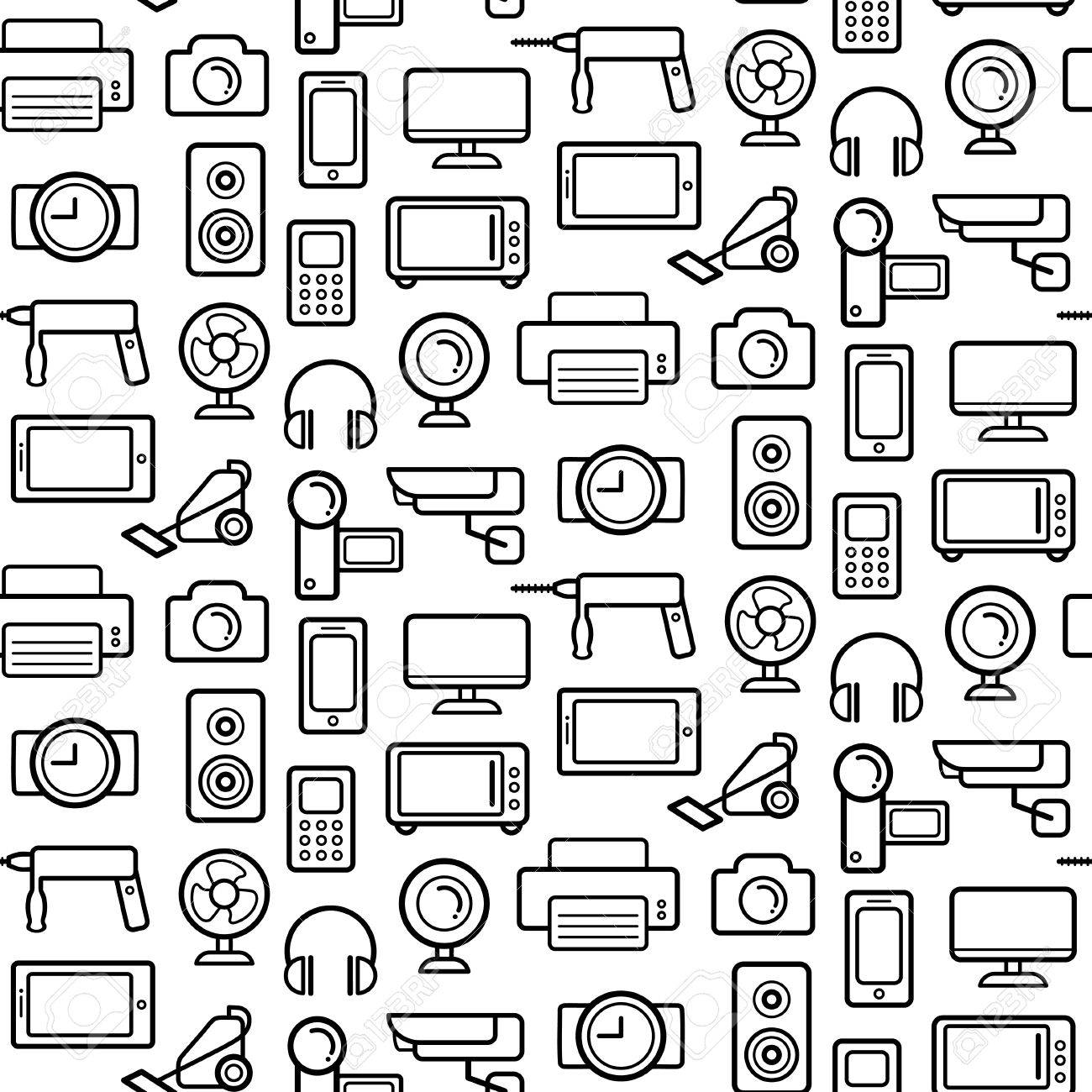 Vector seamless pattern of electrical engineering household 75143413 vector seamless pattern of electrical engineering household appliances