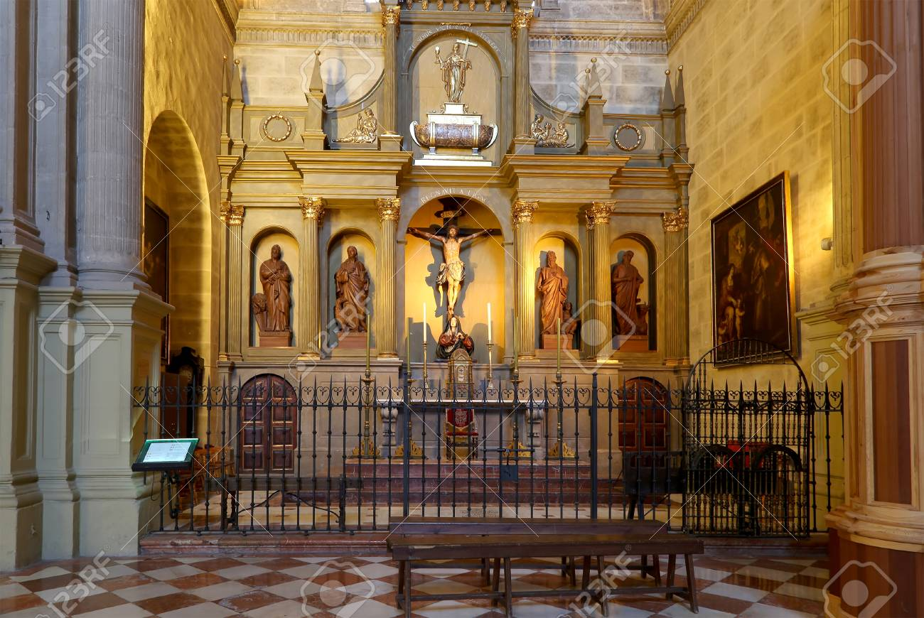 The Interior Cathedral Of Malaga  is A Renaissance Church In   Stock     Stock Photo   The interior Cathedral of Malaga  is a Renaissance church in  the city of Malaga  Andalusia  southern Spain  It was constructed between  1528