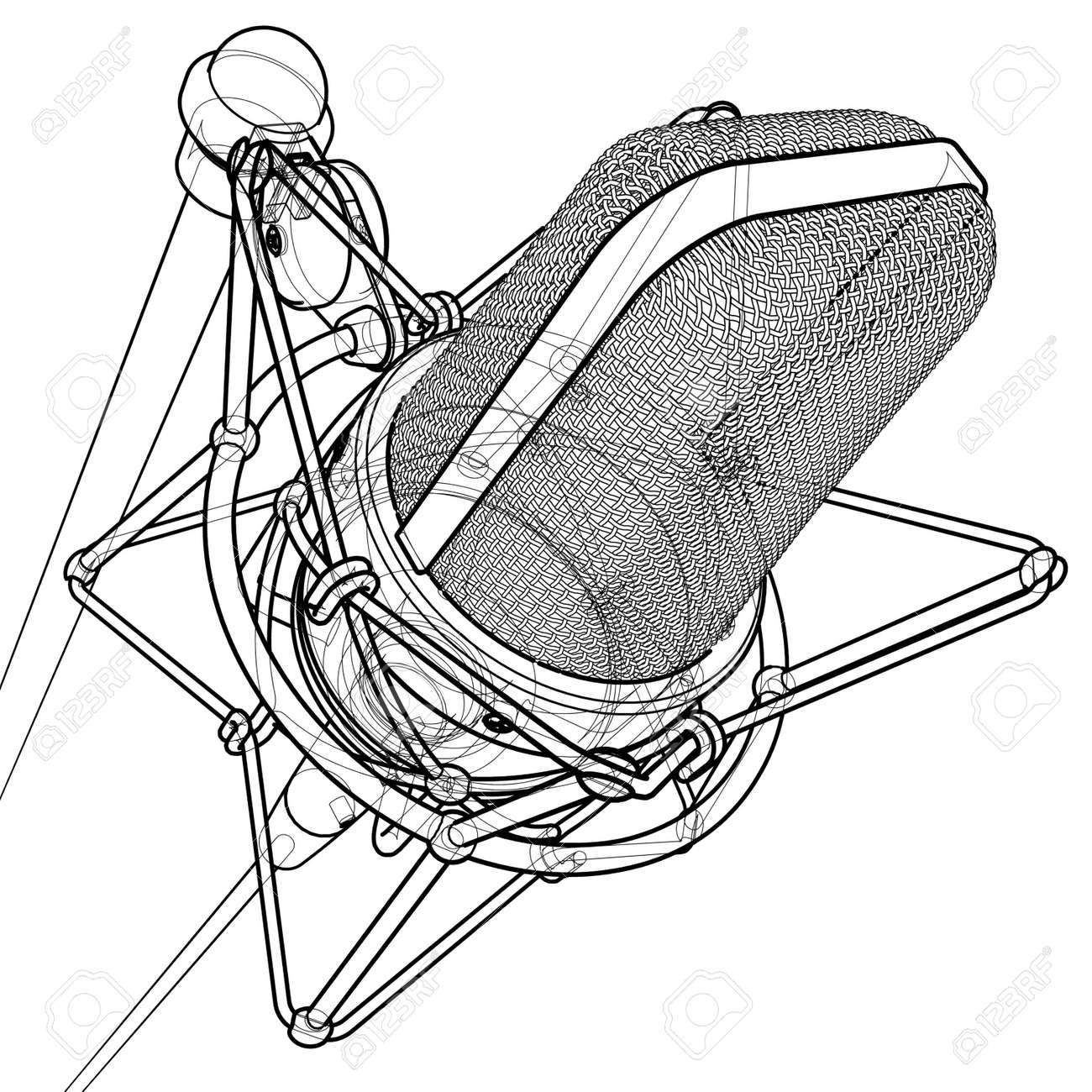 Professional microphone 3d wire frame technical draw stock photo