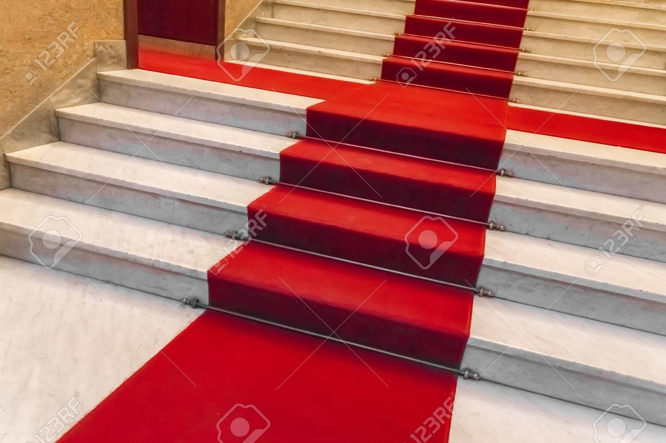 White Marble Staircase With A Red Carpet Stock Photo Picture And | Stairs With Red Carpet | Event | Gold | Spiral Staircase | Traditional | White