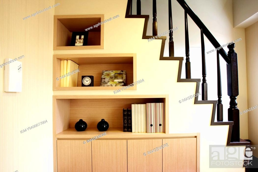 Built In Wardrobe Under Staircases Stock Photo Picture And | Wardrobe Design Under Stairs | Hallway Storage | Basement Stairs | Stair Case | Living Room | Shoe