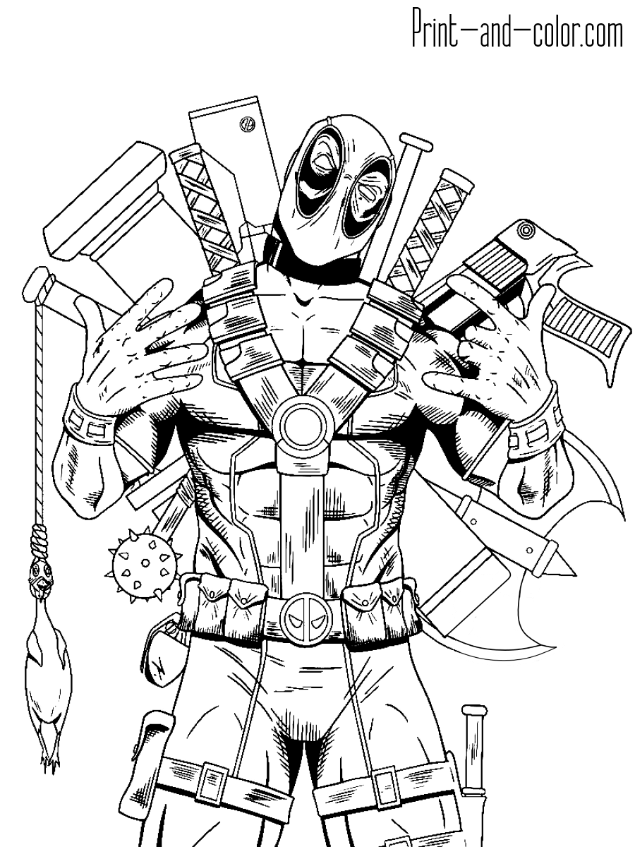 Deadpool coloring 4 full armed