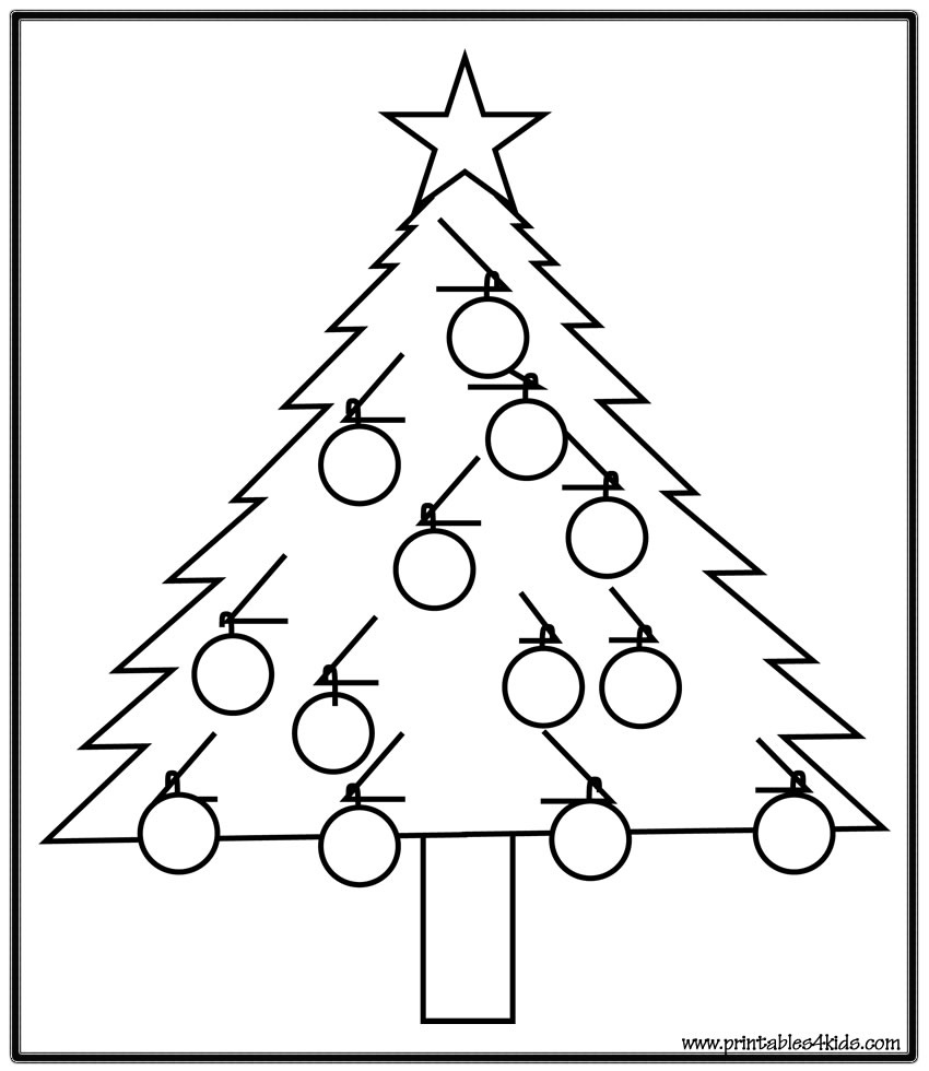 Free Coloring Pages Download Simple Christmas Tree Page Printables For Kids Of