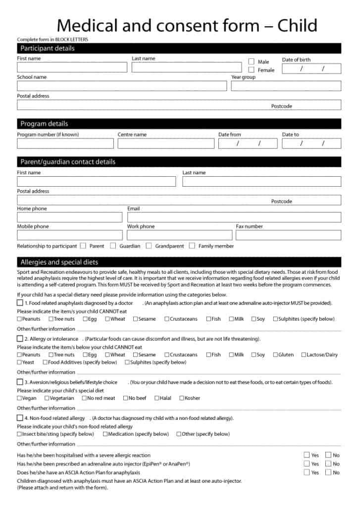 Printable Medical Consent Form