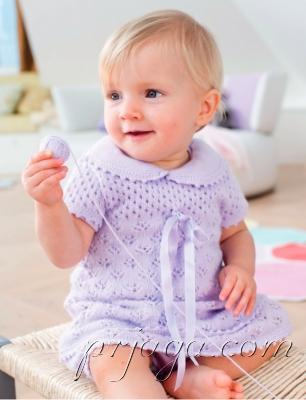 Openwork baby dress na may pagniniting