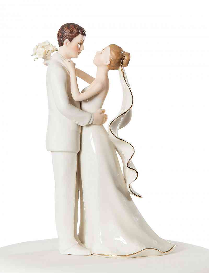 Off White Porcelain Bride and Groom Wedding Cake Topper Figurine