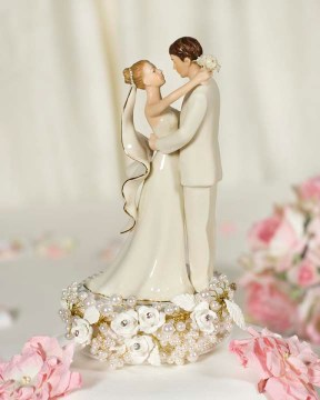 wholesale wedding accessories Vintage Rose Pearl Wedding Cake Topper