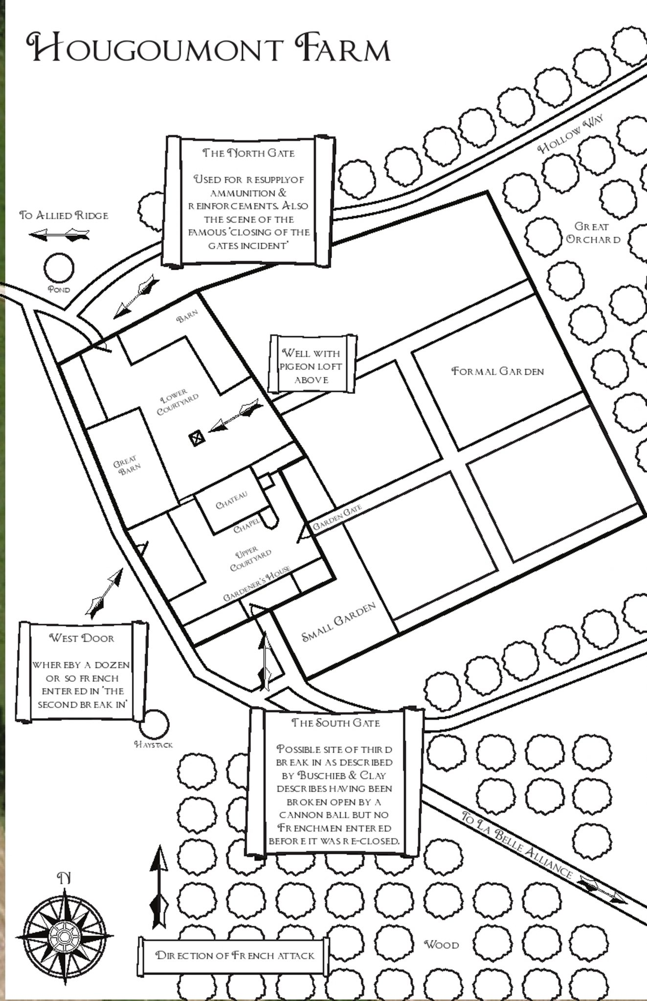 Hougoumont Waterloo Map