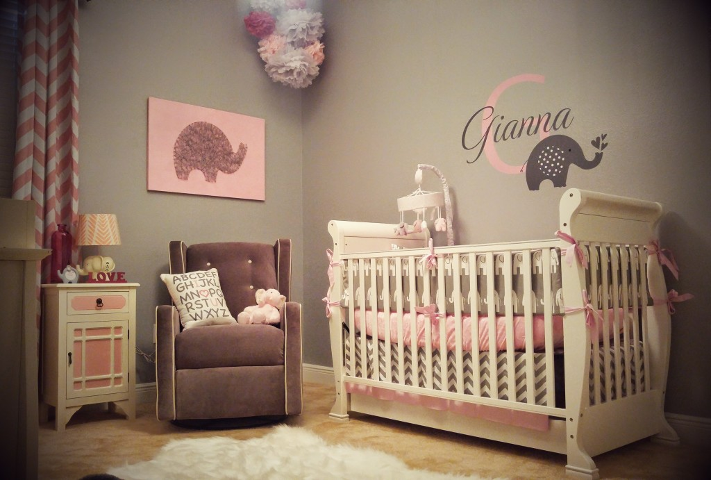 Pink And Grey Elephant Baby