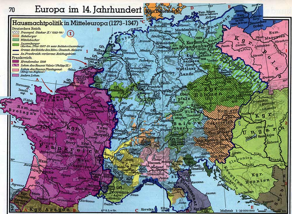 Europe in the 14th Century  Political Map of Western Europe Europe in the 14th Century  Political Map of Western Europe  1273 1347   Westermanns Atas von Weltgeschichte