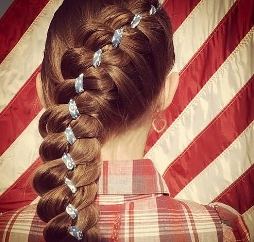 Festive braid with ribbon
