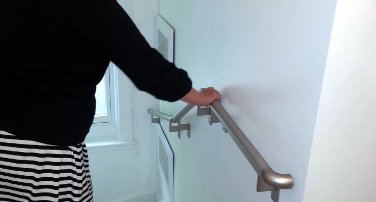 Handrails Vs Stair Railings What Is The Difference Promenaid   Stair Rails For Elderly   Stair Climbing   Down Stairs   Wood   Cmmc Handrail   Pipe