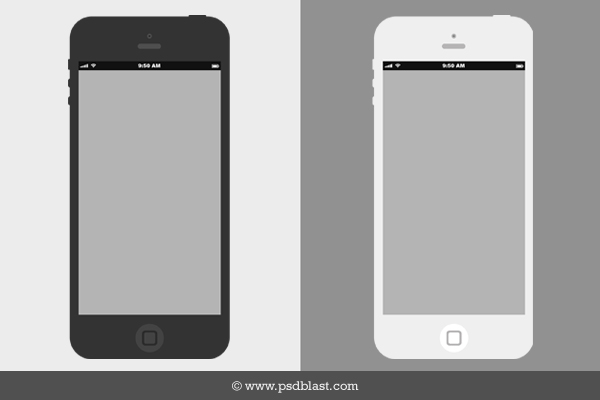 Flat iPhone Wireframe Design Template  PSD    Psdblast Flat iPhone Wireframe Design PSD