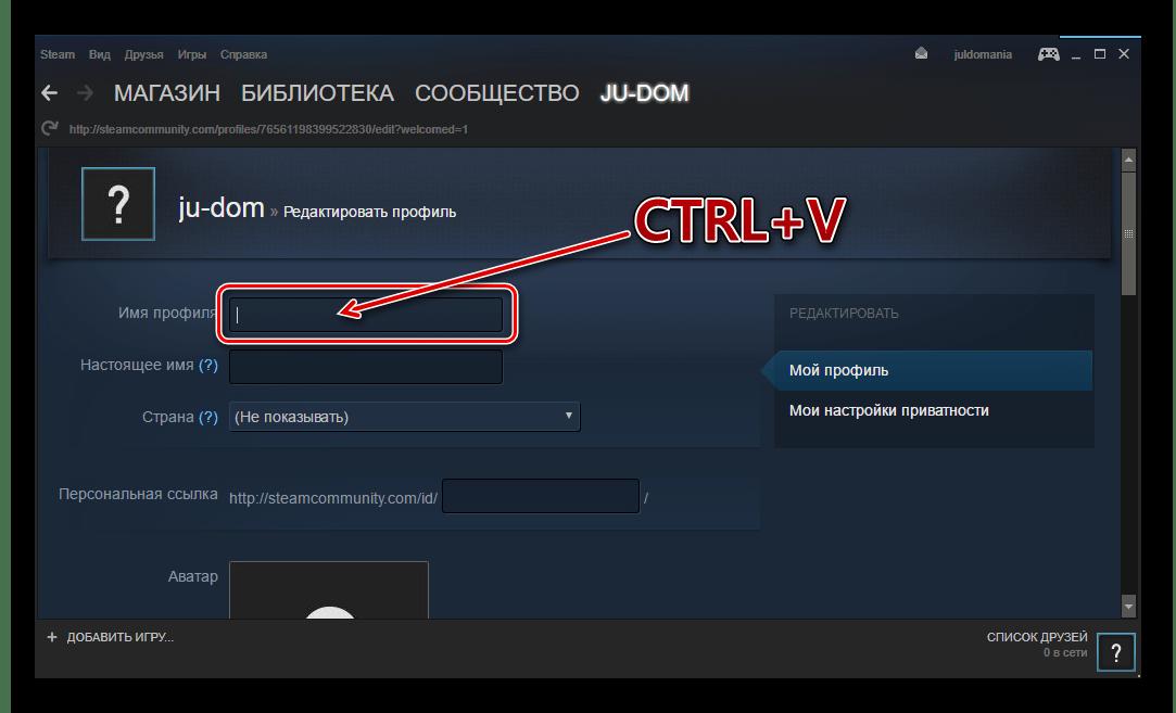 Steam vložte nový název
