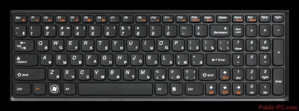 Lenovo ноутбуктің ноутбук клавиатурасы шамсыз