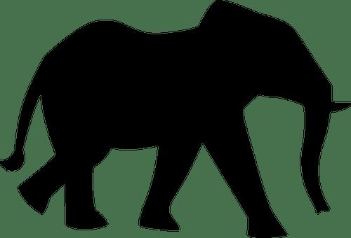 Silueta de elefante negro | Vectores de dominio público