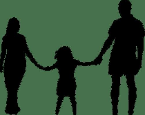 Familia de silueta de tres | Vectores de dominio público