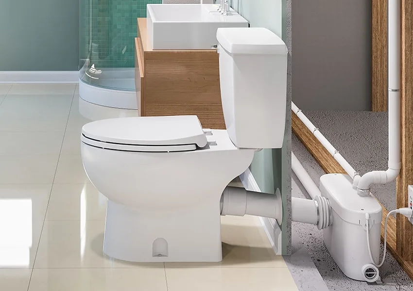 How Do Saniflo Up Flush Toilets Work Qualitybath Com Discover | Under Stair Toilet Design | Toilet Separate | Underground Washroom | Wet Room | Stepped Floor | Small