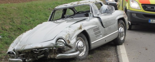 Rare Mercedes Gullwing totaled in Germany by Test Driving Technicians