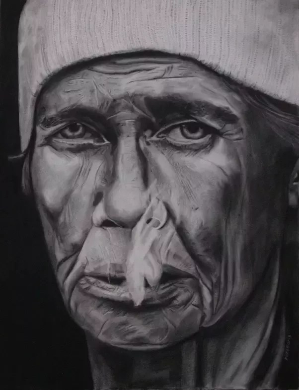 Image of: Artists As You Can See In This Drawing This Man Is Kind Of Old And Smokes So His Skin Is Quite Damaged One Important Thing To Take In Mind Doing Realistic Quora Which Is The Best Shading Technique To Recieve Realistic Drawing
