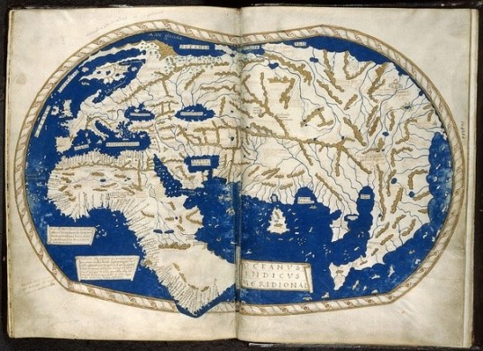 What did the world map look like the day before Columbus reached         1450 and 1492  a better idea of Africa s western coast  Atlantic  islands   but not huge  Martin Behaim s and Martellus  works  from the  1480s and 1490s