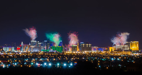 What to Do in Las Vegas on the Fourth of July   Travel Agent Central View of Las Vegas strip at night with firework display on New Year Day