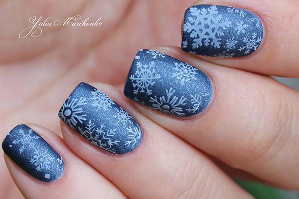 Тырнақтарға снежинкалар салыңыз - өте жақсы қыста маникюр