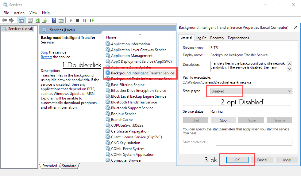 disable unnecessary service, windows 10, BITS