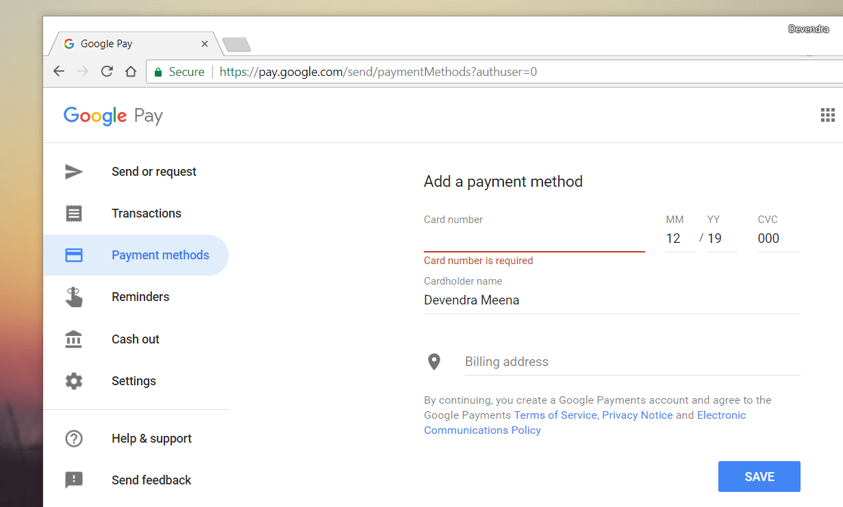 adding payment option in google pay