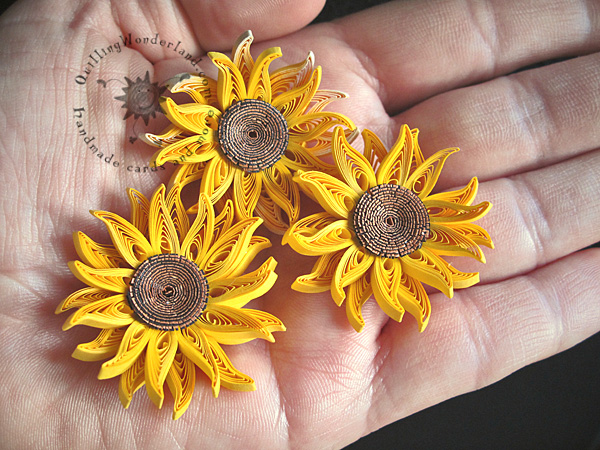 Quilled Mini Sunflowers Picture Framed Paper Art