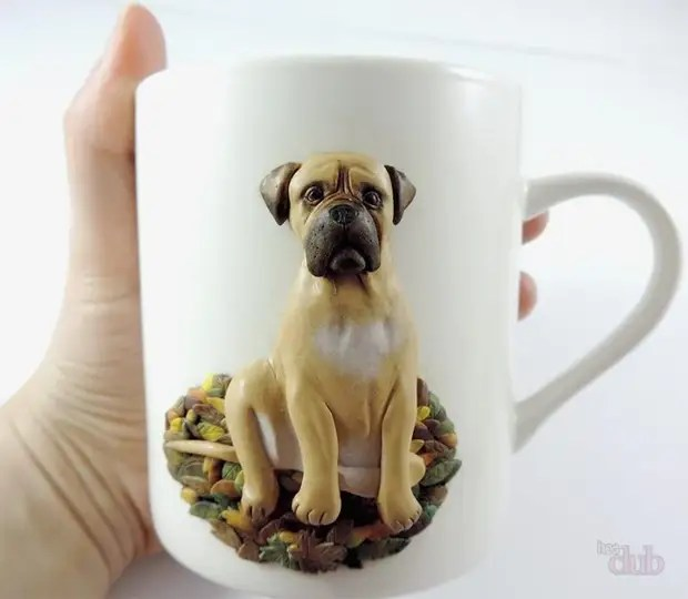Copo com polímero argila cão