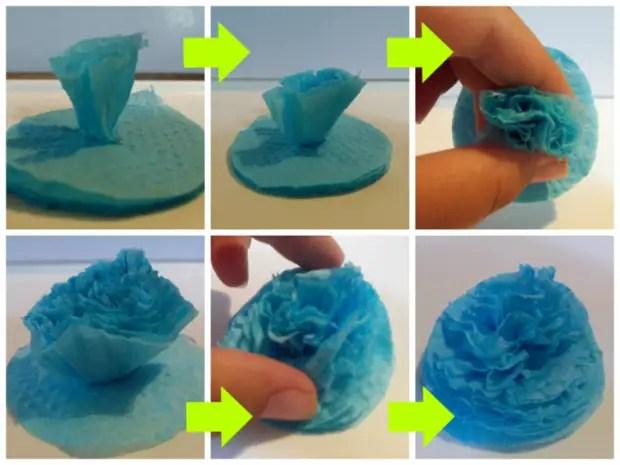 Cómo hacer flores de servilletas.