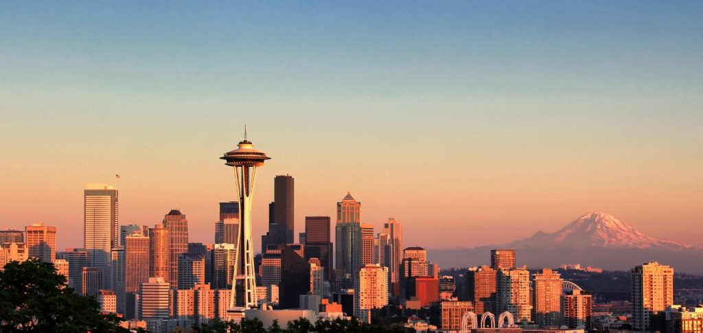 View of downtown Seattle Washington at sunset