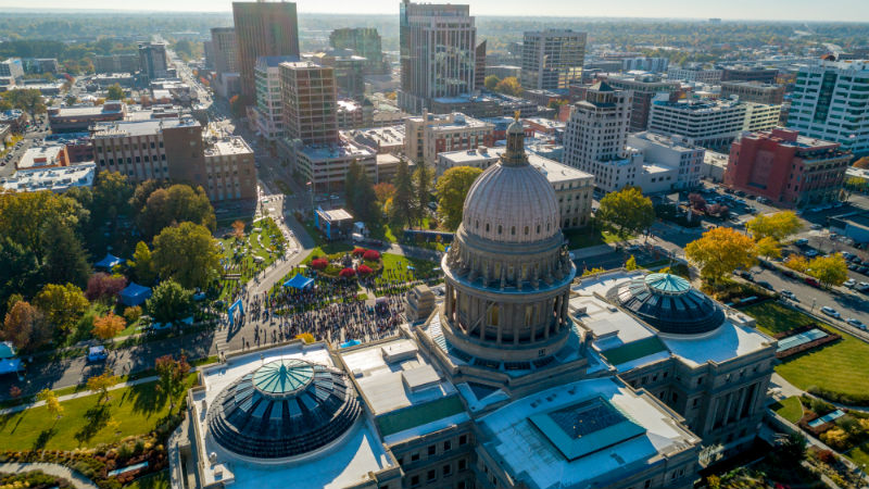 Aerial view of the capital building in Boise, ID