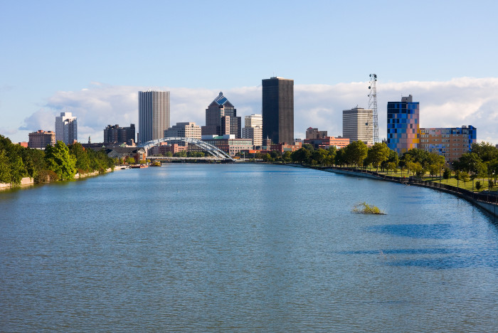 Waterfront view of dowtown Rochester New York