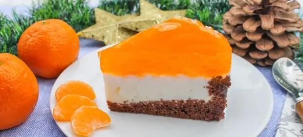 торт с мандаринами и желе