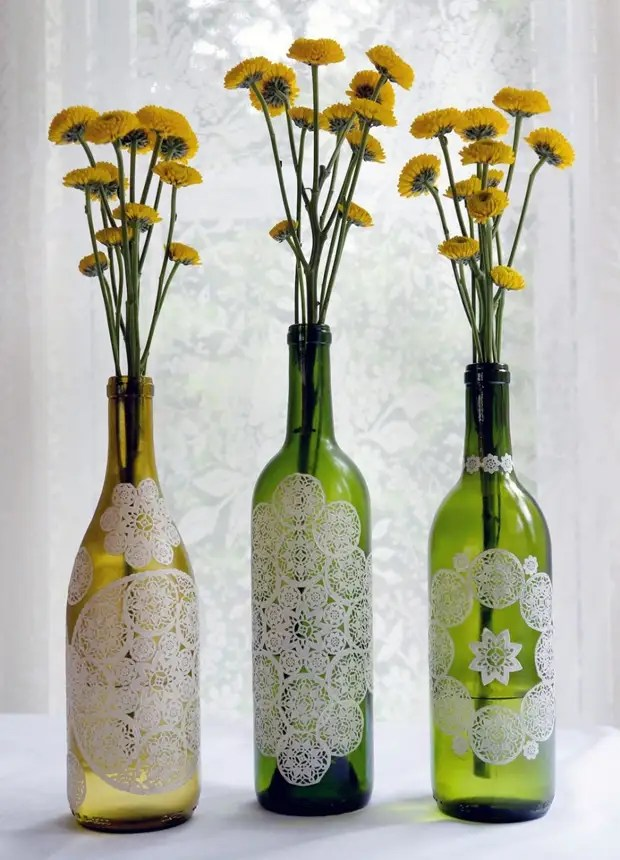 Botol Decoupage dengan Napkins Putih