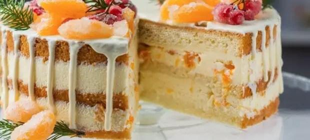 торт без выпечки с мандаринами