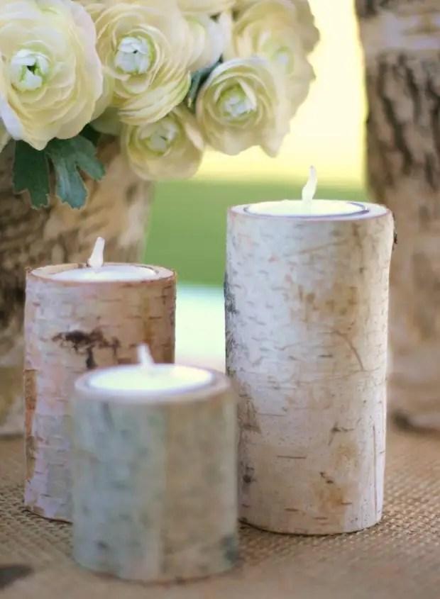 Les détenteurs de bougies en bois décoreront la fête en plein air