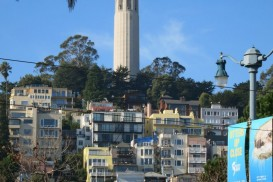 a view of Telegraph Hill with Coit Tower on top
