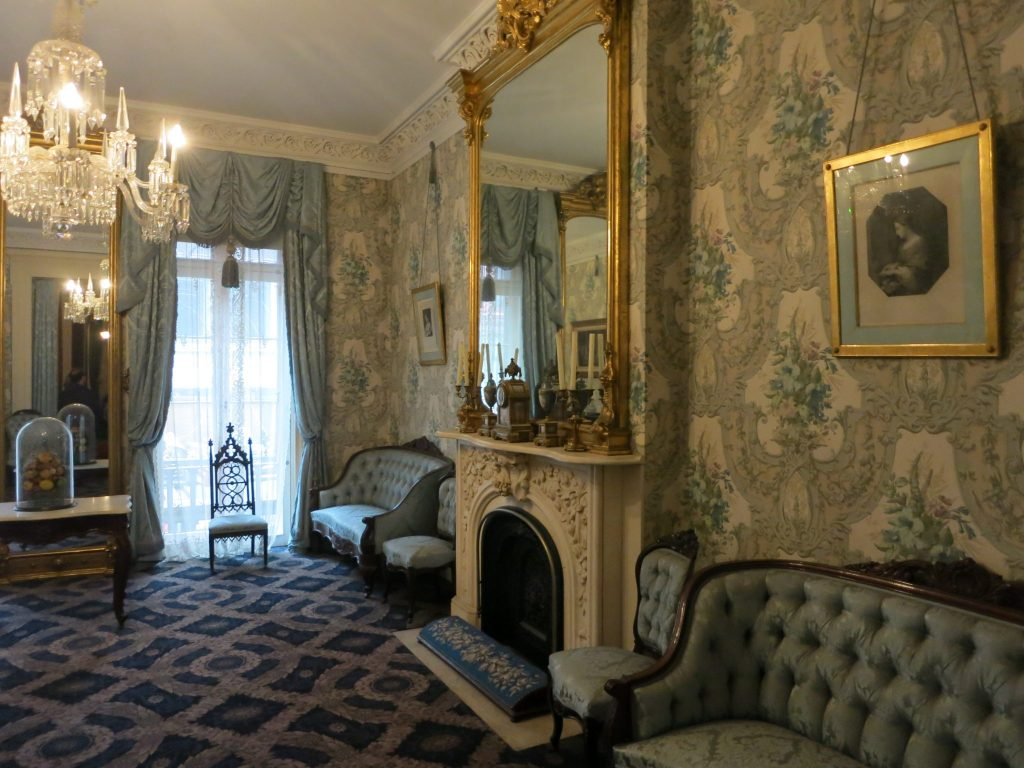 This is one of five period-furnished rooms in the Theodore Roosevelt Birthplace Museum.
