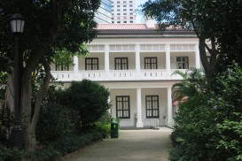 a view of the front of the colonial-era Flagstaff House in Hong Kong Park