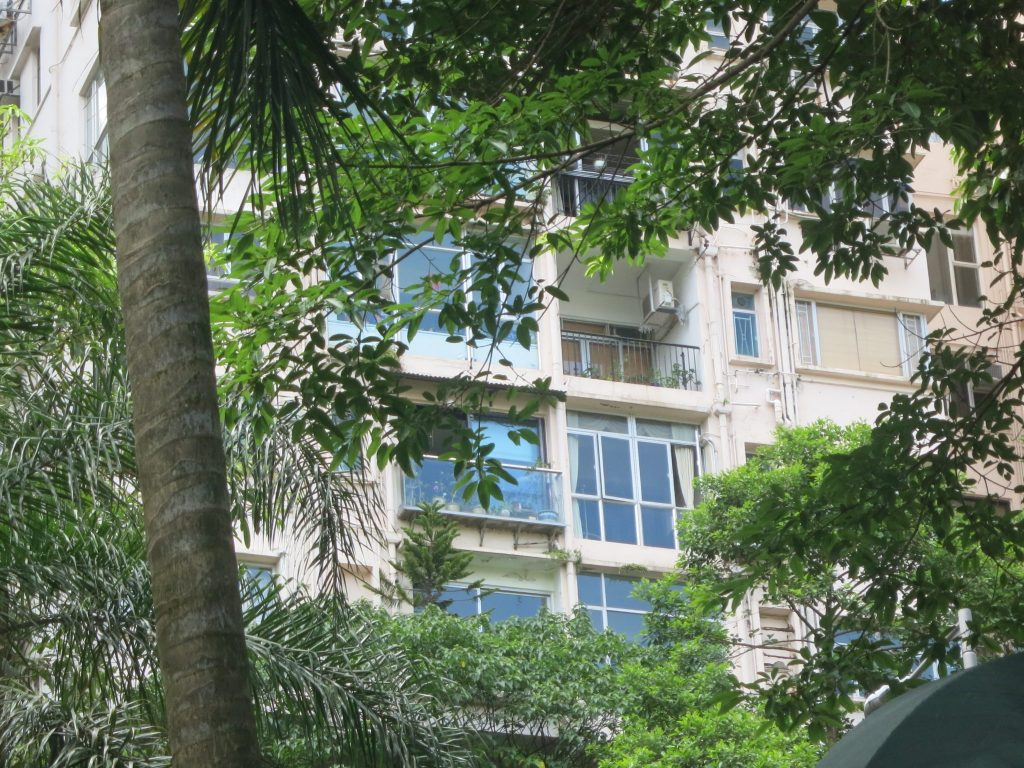 view of a section of a building, seen between trees, where one of the balconies remains, but the rest are closed in with walls of windows.